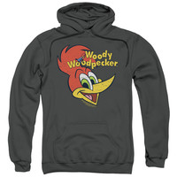 WOODY WOODPECKER/RETRO LOGO-ADULT PULL-OVER HOODIE-CHARCOAL