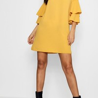 Vivv Volume Sleeve Woven Shift Dress | Boohoo