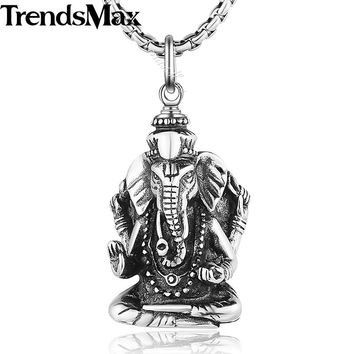 Trendsmax Hindu Ganesha Elephant Buddha Women Men Pendant Necklace Motorcycle Engine 316L Stainless Steel  22inch Chain HP409