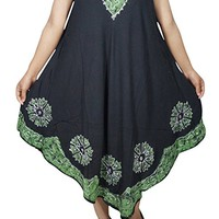 Mogul Interior Womens Sundress Sleeveless Black Batik Print Embroidered Loose Swing Style Tank Dress Cover up