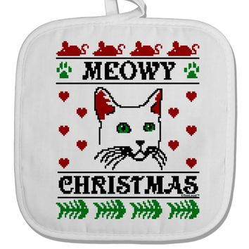 Meowy Christmas Cat Knit Look White Fabric Pot Holder Hot Pad by TooLoud