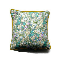 Sanderson William Morris Golden Lily, 80s vintage Arts and Crafts, green, lilac and blue cushion, throw pillow, homeware decor, 18 X 18 ins.