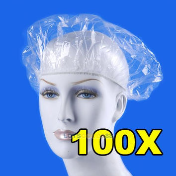 100pcs lot Disposable Hat Hotel One-Off Elastic Shower Bathing Cap Clear Hair Salon Bathroom Products