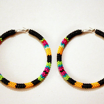 eleumne.com | Native American Peyote Stitch Beaded Hoop Earrings
