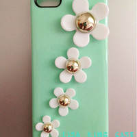 Mint green flowers iphone 4 case iphone 4s case iphone 5 case samsung Galaxy S3 case