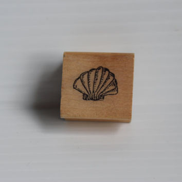 SEA SHELL Rubber Stamp, CC'S rubber stamp, Vintage arts and crafts supply, arts supplies, gift for scrapbooker, gift for mom, Shell Stamp