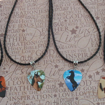 Southwest Braided Necklace, Rodeo Cowboy, Guitar, Black Stallion, Horse Custom, Country Musician Guitar Pick Jewelry, Adjustable Chain
