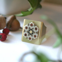 Marquetry Wooden Handmade Ring, Brass base, unique pattern, adjustable ring, marquetry, handmade