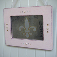 Fleur de Lis Antiqued Mirror in Pink Shabby Chic by BusterJustis