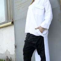 NEW COLLECTION S/S15! Extravagant White Shirt / Asymmetrical Linen Shirt/ Oversized Long Top