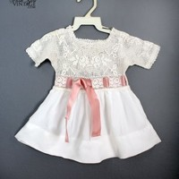 1920's Baby Girls White Crochet & Pink Silk Vintage Dress VINTAGE BABY CLOTHING & DRESSES 1920's - 30's :