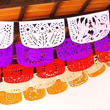 Fiesta bridal shower banner, 5 Pack Banners, papel picado decor, Fiesta Decorations Garland, Mexican Party Supplies, 60 feet long, Fiesta party banner
