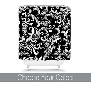 CUSTOM You Choose Colors Black White Damask Floral Swirl Bathroom Bath Shower Curtain Polyester Made in the USA