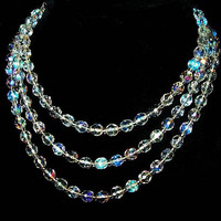 "Crystal Flapper Bead Necklace One Strand Faceted Round Beads 50"" Long  Vintage"