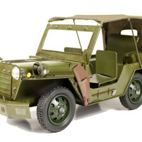 Handmade Antique Tin Model Car-World War Two Willys Jeep Officer