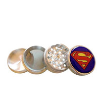 "Superman Logo Herb Aluminum Grinder 2.2"" 4 Piece w/ Pollen Screen = 1946331396"