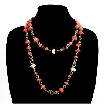 Chanel Vintage Coral & Pearl Beaded Necklace (1984) Pink White Gold
