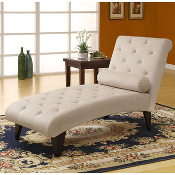Monarch Specialties 8032 Chaise Lounger in Taupe Velvet Fabric
