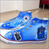 Tardis Doctor Who Shoes converse handpainted custom shoes