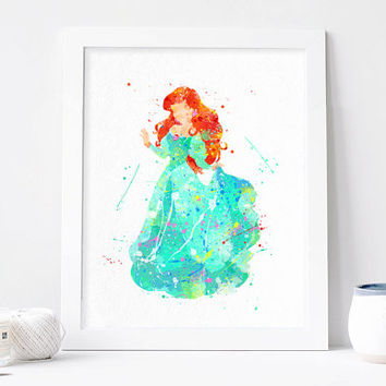 Princess Ariel watercolor Disney Art Nursery Ariel print Kids Bedroom Decor Arieal wall art printable Baby Room ariel poster, Christmas Gift
