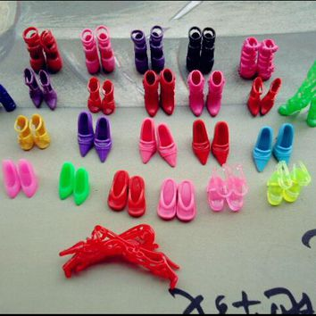 24pcs/set Slap-up Fashion High-Heeled Shoes For Barbies Dolls Furniture Colorful Accessories PCV Shoes For Girls Kids Toys