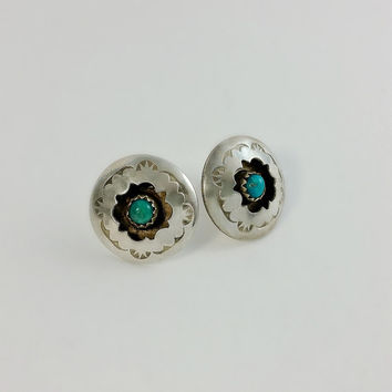 Sterling Button Earrings - Native American Shadow Box Earrings - Signed CARVISO Earrings - Navajo Silver Earrings