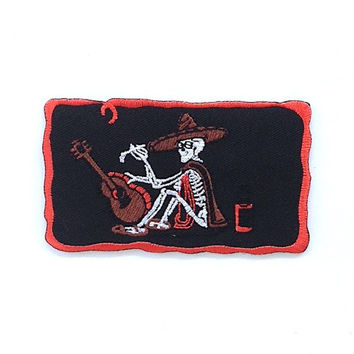 Banjo Man Skeleton Iron on Patch Size 9.7 x 5.5 cm