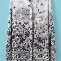 Ink Floral Print Long Sleeve Blouse