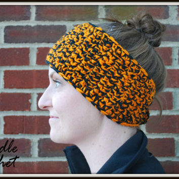 Warm Crochet Headband Fall Winter Stylish Soft Cozy Earwarmer Accessory with Two Colors Orange & Black