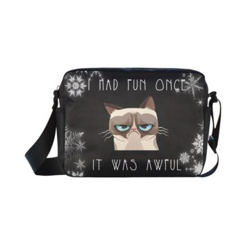Psylocke Waterproof Shoulder Bag Designer Crossbody Bag with Grumpy cat Print