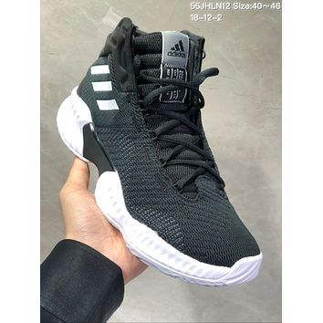 HCXX A494 Adidas Pro Bounce 2018 Mid Flyknit Actual Baskteball Shoes Black