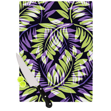 "Alison Coxon ""Dark Fern"" Green Purple Cutting Board"