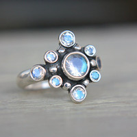 Moonstone Engagement Ring Rainbow Moonstone Ring Moonstone Ring Sterling Silver Made in Your Size Promise Ring June Birthstone