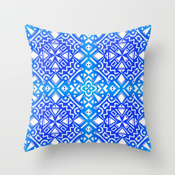 Tribal Tiles III (Blue, Teal) Geometric Throw Pillow by AEJ Design