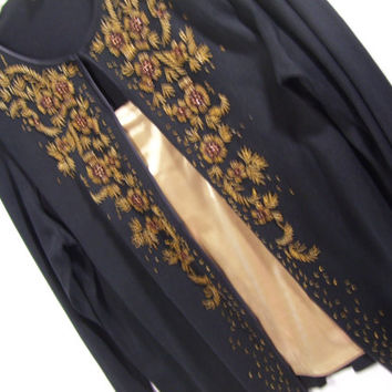 Ann Taylor, Cardigan, Knit Black, Long Sleeve, Gold Beading, Dressy Evening, Size Medium Large, Resort Cruise Wear