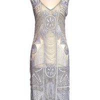 "1920s ""The Bosley"" Silver Beaded Flapper with Beaded Fringe Dress - Cabaret Vintage"
