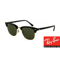 Ray-Ban RB3016 Clubmaster Sunglasses Ebony Arista Frame Green Lens