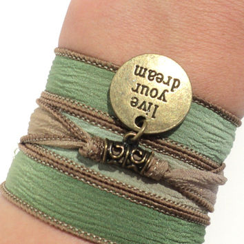 Yoga Silk Wrap Bracelet Yoga Jewelry Live Your Dream Green Brown Earthy Upper Arm Band Bohemian Unique Gift For Her Under 30  V44