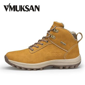 VMUKSAN Brand Men Boots Big Size 39-47 Men Winter Boots Lace-Up Casual Ankle Snow Boots Mens Fashion Sneakers Work Shoes Man