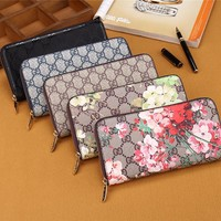 """Gucci"" Women Purse Personality Flower Pattern Print Long Section Three Fold Wallet Handbag"