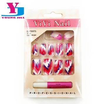 Full Nail Tips UV Gel Art Designed Fake Nails Tips Acrylic Artificial Nails Tools Sets Professional Salon False Nail Manicure