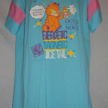 Vintage 1978 Garfield Night Shirt Scorpio Mint Pink Retro 80s 70s
