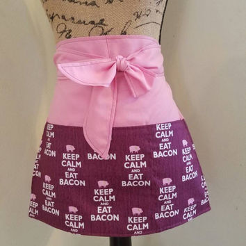 Diner - waitress - bbq - pig - bacon - coffee - shop - pinup - rockabilly - 50's - retro - vintage - style - half - apron - w/ - pockets