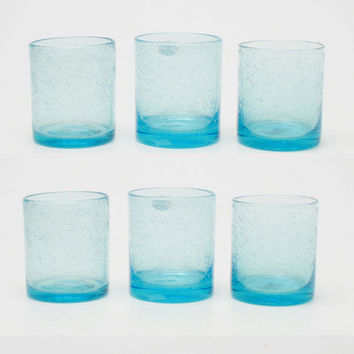 TAG 555169 Aqua Bubble Glass Double Old Fashioned, Set of 6