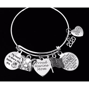 Personalized Marine Son Gift for Marine Mom Expandable Charm Bracelet Silver Adjustable Bangle One Size Fits All Gift USA Military USMC Marines