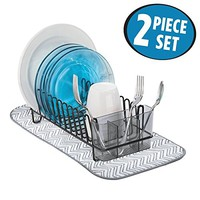 mDesign Kitchen Accessory Set, Compact Dish Drainer, Mini Dish Drying Mat - Set of 2, Black/Gray