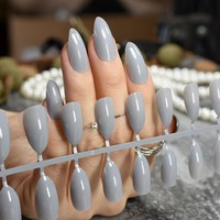 Grandma Grey Shiny Fake Nails Grace Stylish Stiletto Press On Nails DIY Manicure Tips Full Wrap 24pcs/kit