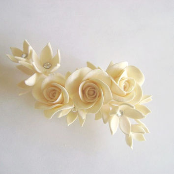 Ivory Rose Stephanoris Hair Flower. Wedding Hair fascinator. Birdal/Bridesmaid Hair Clip