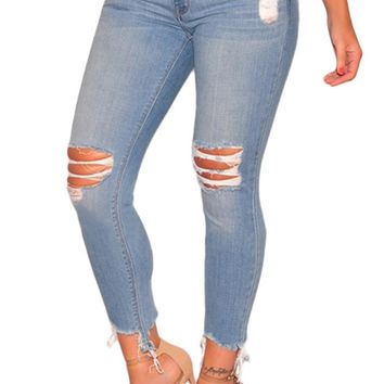 Women's Light Denim Ripped Ankle Length Skinny Jeans