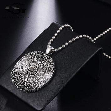 GS Tree Of Life Pendant Necklace Women Men 2018 Fashion Jewelry Austrian Crystal Silver Color Chain Necklaces & Pendants Y3